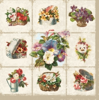 Servietten 33x33 cm - Chessboard with Garden Flowers
