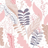 Servietten 33x33 cm - Soft Graphic Leaves Pink