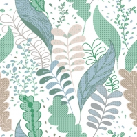 Servietten 33x33 cm - Soft Graphic Leaves Green