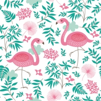 Servietten 33x33 cm - Pink Flamingos