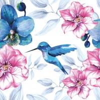 Servietten 33x33 cm - Blaue Colibri