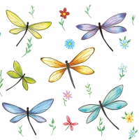 Servietten 33x33 cm - Colourful Dragonflies