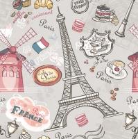 Servietten 33x33 cm - Die Sehenswürdigkeiten von Paris