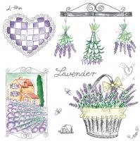 Servietten 33x33 cm - Lavendel Garten