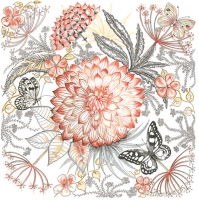 Servietten 33x33 cm - Meadow Mix with Dahlia