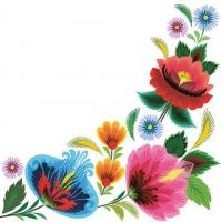 Servietten 33x33 cm - Floraler Folklore-Rahmen