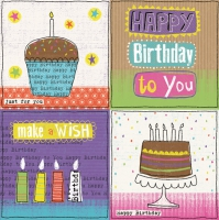 Servietten 33x33 cm - Happy Birthday Treats