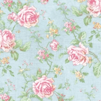 Servietten 33x33 cm - Englische Rosen im Stil Blau