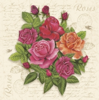 Servietten 33x33 cm - Postcard with Roses