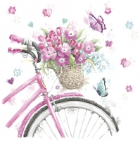Servietten 33x33 cm - Pink Bicycle with Basket