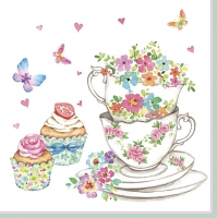 Servietten 33x33 cm - Cups and Cupcakes with Flowers