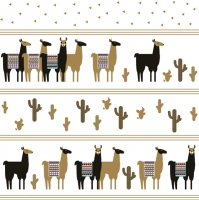 Servietten 33x33 cm - Trendy Black and Gold Lamas