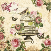 Servietten 33x33 cm - Vogel auf Vintage Cage