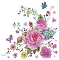 Servietten 33x33 cm - Gezeichnete Rosen mit Schmetterlingen