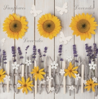 Servietten 33x33 cm - Lavender and Sunflower Composition with Wooden Sticks