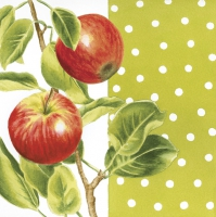 Servietten 33x33 cm - Apple Branch on Green Background