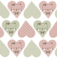 Servietten 33x33 cm - Sweet Heart Kitty