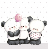 Servietten 33x33 cm - Little Pandas with Balloon
