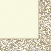 Servietten 33x33 cm - Ornament Frame Ecru