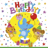 Servietten 33x33 cm - Happy Birthday Circus
