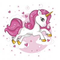 Servietten 33x33 cm - Pink Heart Unicorn