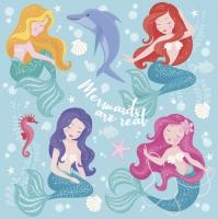 Servietten 33x33 cm - Pastel Mermaids