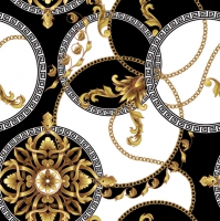 Servietten 33x33 cm - Golden Barocco Rosettes in Circles