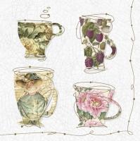 Servietten 33x33 cm - Tea Cups with a Teapot