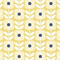 Servietten 33x33 cm - Yellow Flowers Pattern with Blue Dot