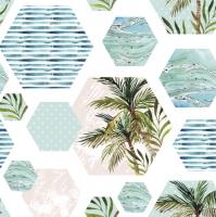 Servietten 33x33 cm - Palms in Hexagons with Blue Background