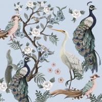 Servietten 33x33 cm - Peacocks and Heron in Garden on Blue