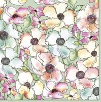 Servietten 33x33 cm - Watercolour Flowers Meadow on Sage