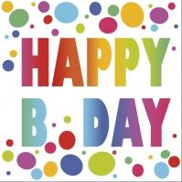 Servietten 33x33 cm - Happy B'Day Dots