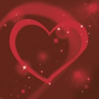 Servietten 33x33 cm - Red Neon Heart