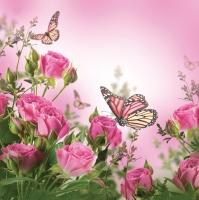 Servietten 33x33 cm - Roses & Butterflies