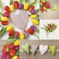 Servietten 33x33 cm - Colourful Tulips with Hearts