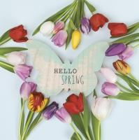 Servietten 33x33 cm - Hello Spring Tulips