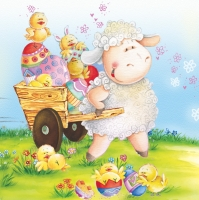 Lunch Servietten sheep with eggs
