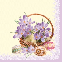 Servietten 33x33 cm - Crocuses in a Basket - Violet