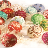 Servietten 33x33 cm - Easter Eggs & Hay