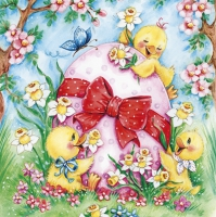 Servietten 33x33 cm - Happy Chicken with Big Easter Egg