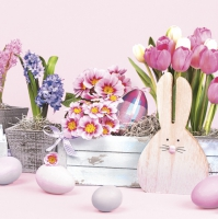 Servietten 33x33 cm - Easter Wooden Bunny and Spring Flowers