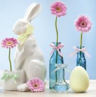 Servietten 33x33 cm - Porcelain Bunny and Pink Gerberas