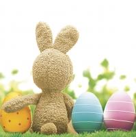 Servietten 33x33 cm - Fluffy Bunny with Eggs