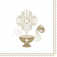 Servietten 33x33 cm - Christening Motive Gold and Ecru