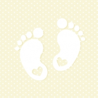 Servietten 33x33 cm - Little Feet Cream