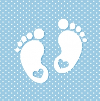 Servietten 33x33 cm - Little Feet Blue