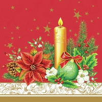 Servietten 33x33 cm - Classical Christmas Decor Red