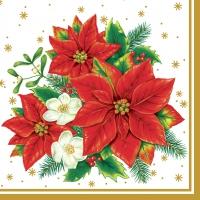 Servietten 33x33 cm - Poinsettia weiß