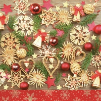 Servietten 33x33 cm - Christmas Wooden Decorations